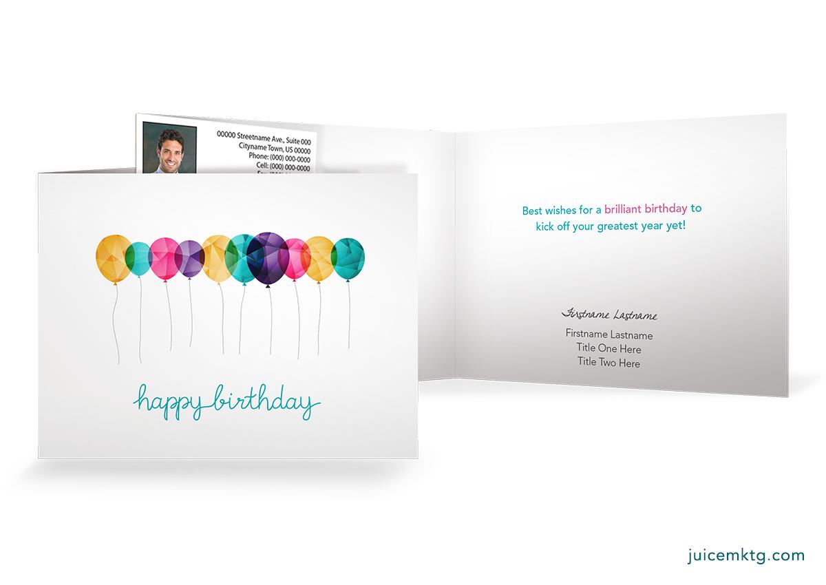 Happy Birthday Balloons - Folded Card