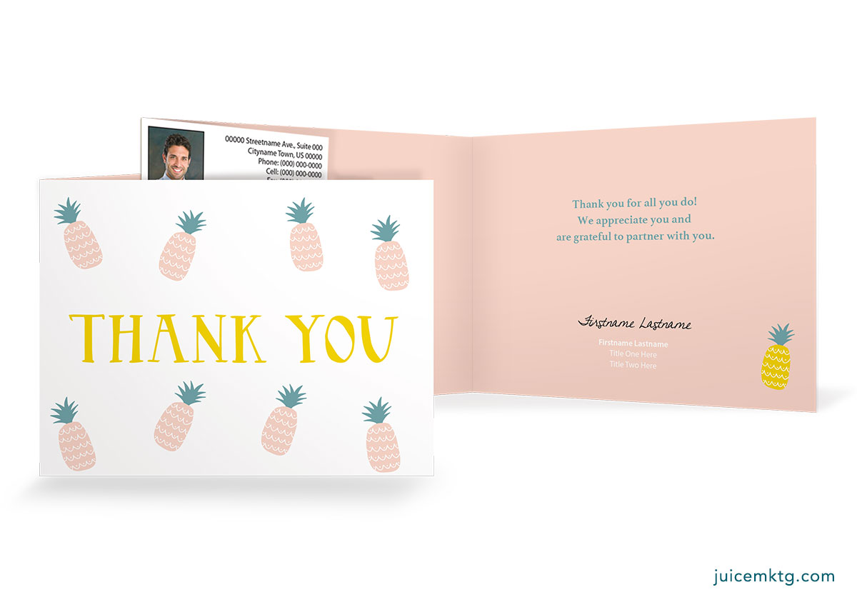 Thank You - Pineapple - Folded Card