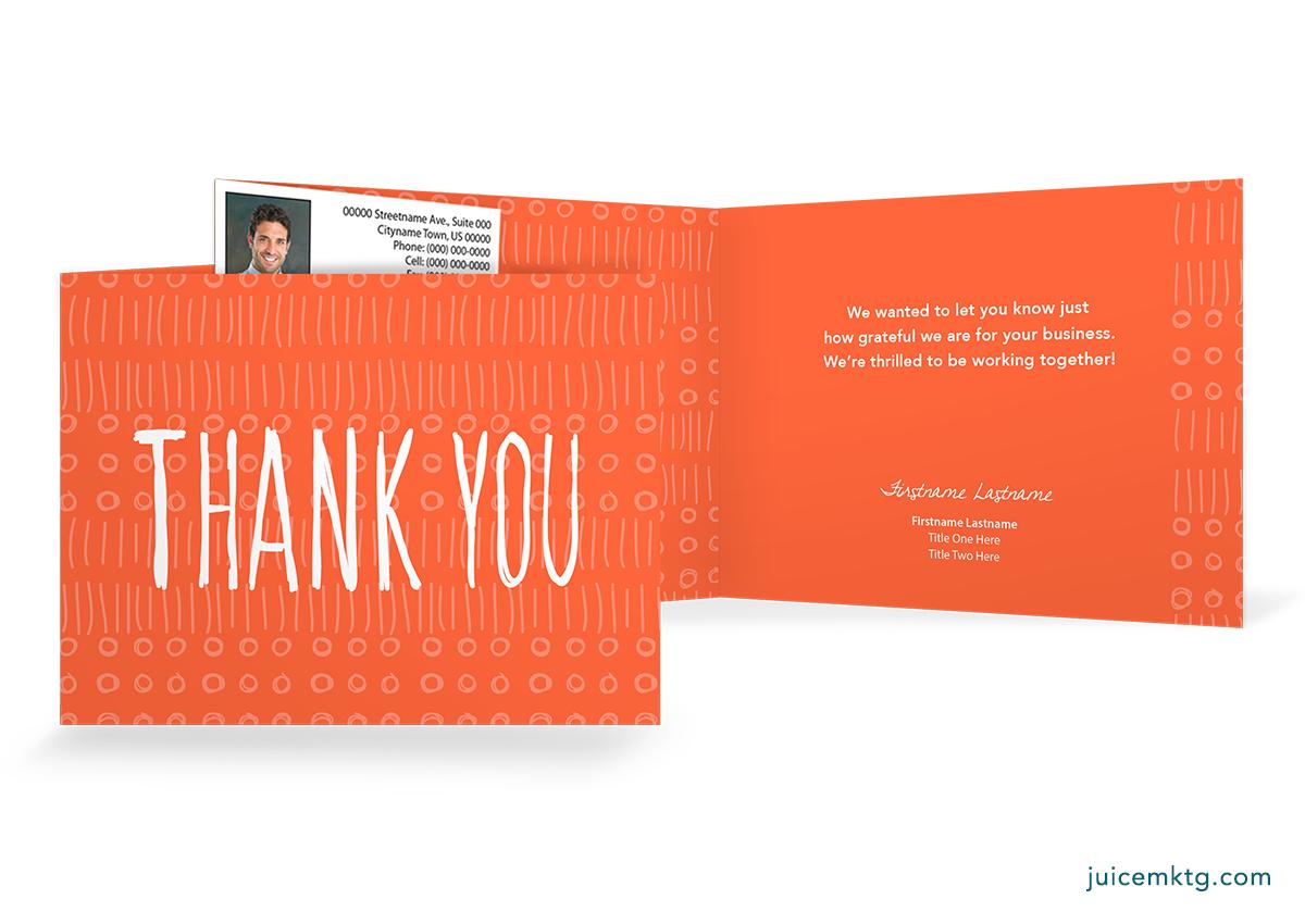 Thank You - Orange - Folded Card