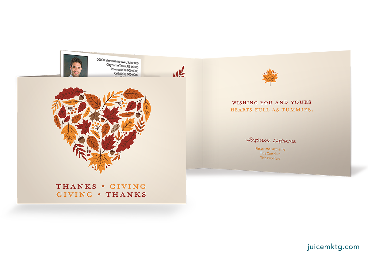 Thanksgiving - Hearts - Folded Card