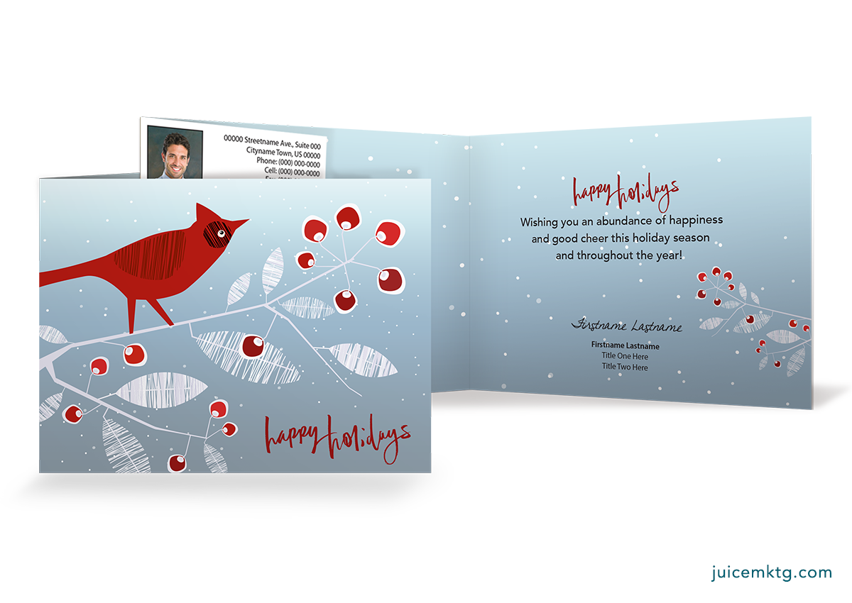 Happy Holidays - Cardinal - Folded Card