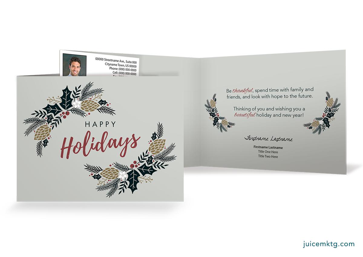 Happy Holidays - Greenery - Folded Card