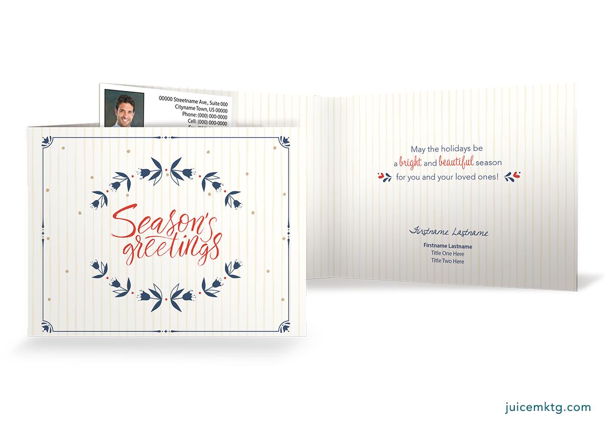 Seasons Greetings - Wreath - Folded Card
