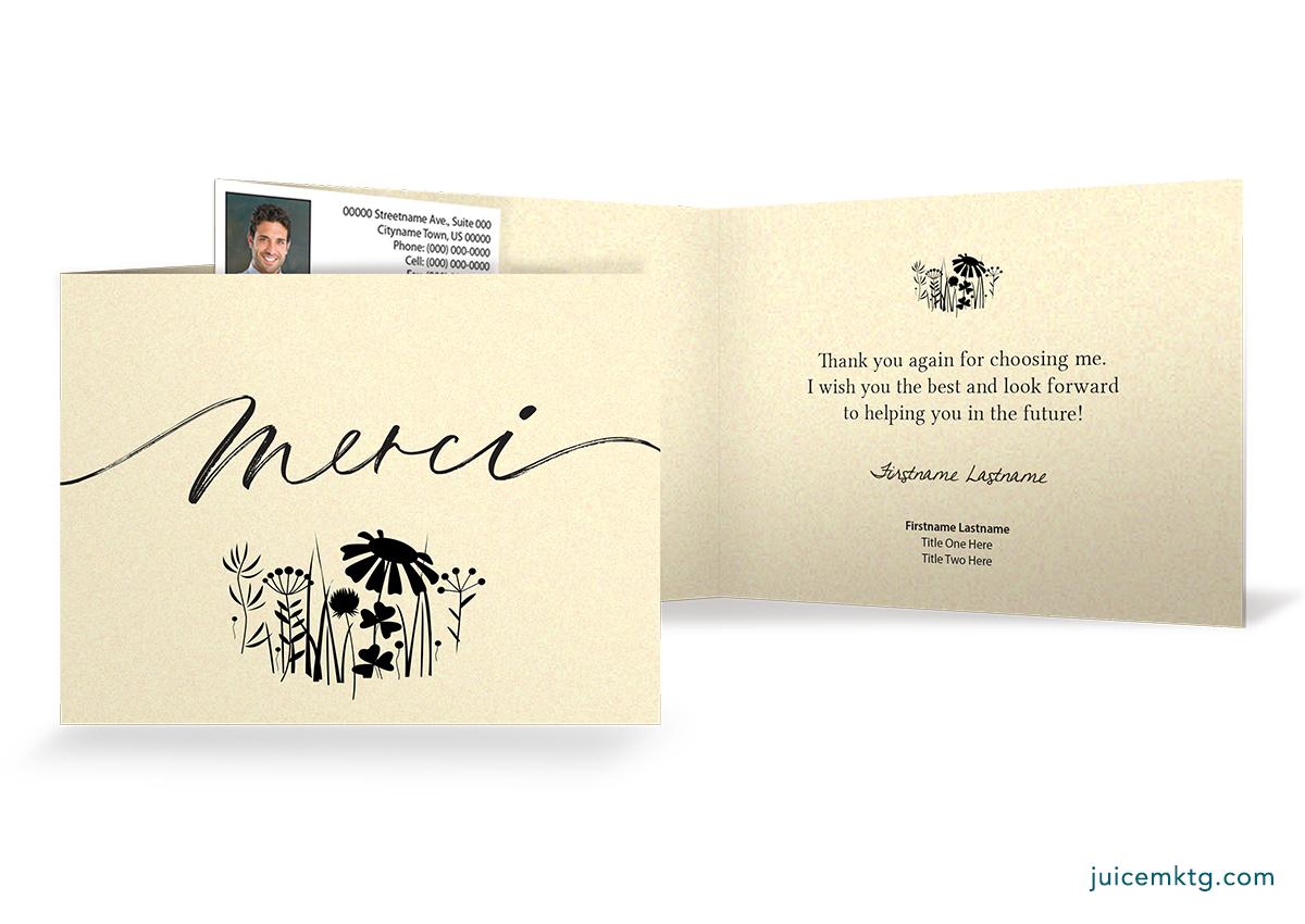 Thank You - Merci - Folded Card