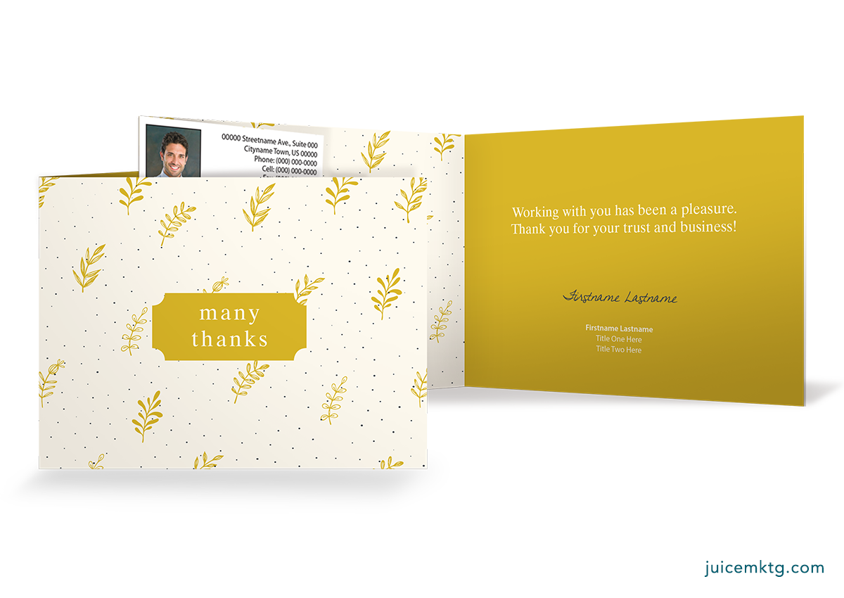 Thank You - Yellow - Folded Card