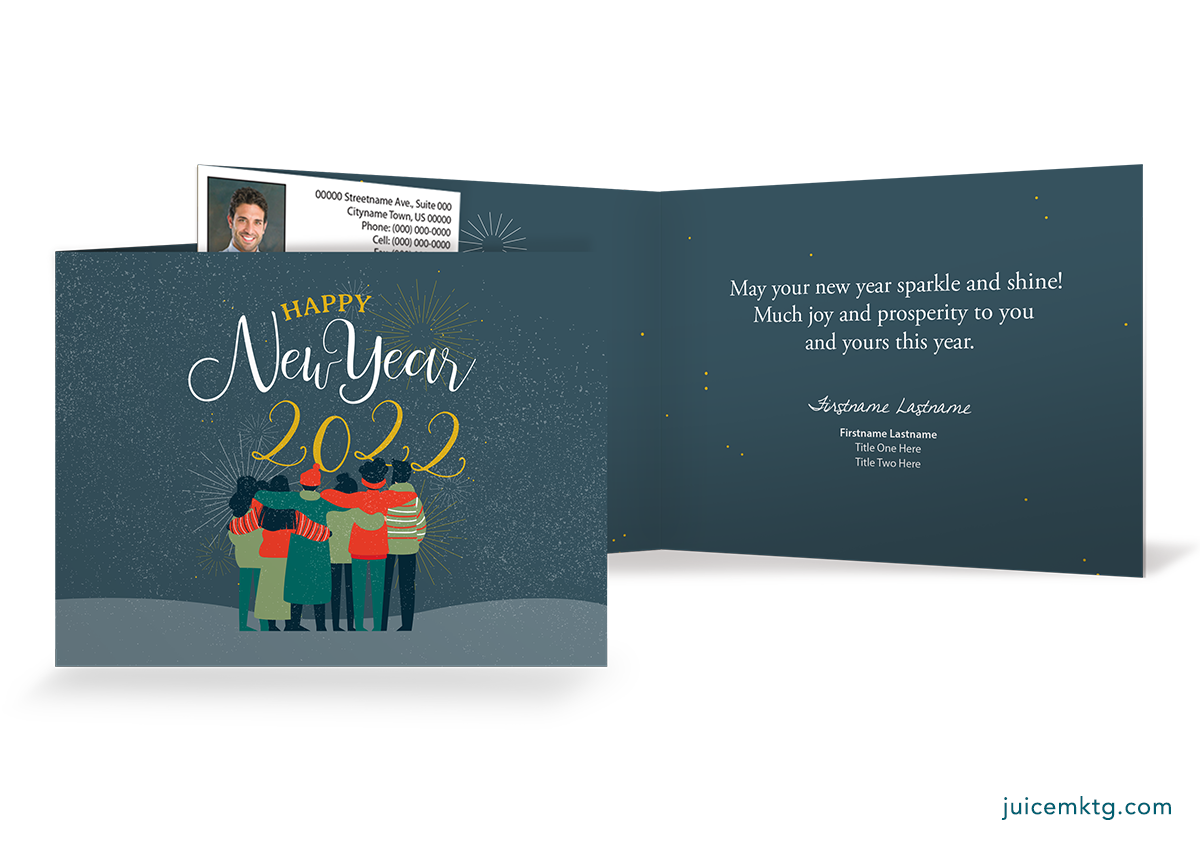 Happy New Year - Huddle - Folded Card