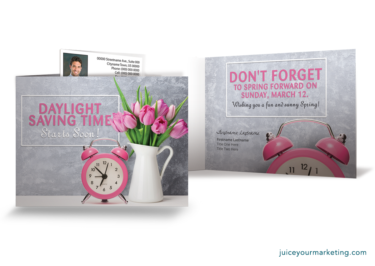 Daylight Saving/Spring Forward - Pink Tulips - Folded Card