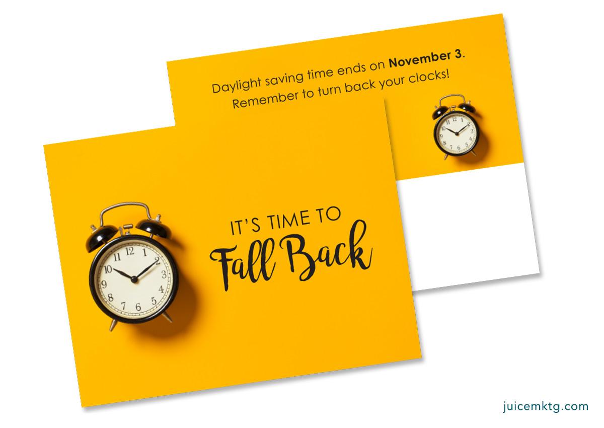 Daylight Saving Time Fall Back - Postcard