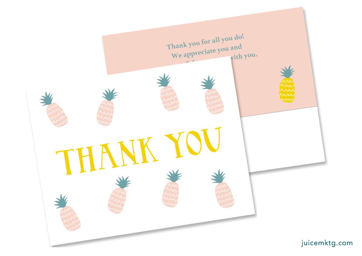 Thank You - Pineapple - Postcard