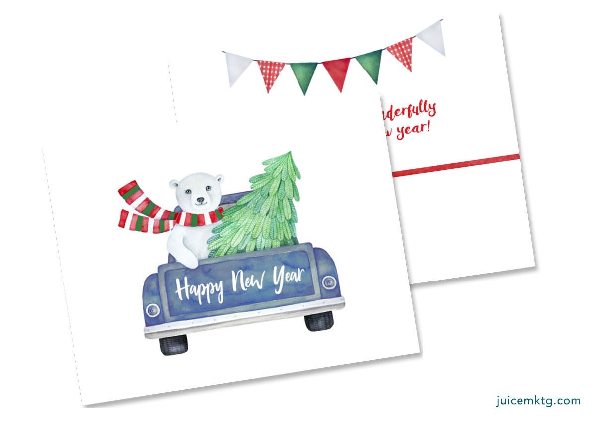 Happy New Year - Cozy Bear - Folded Card
