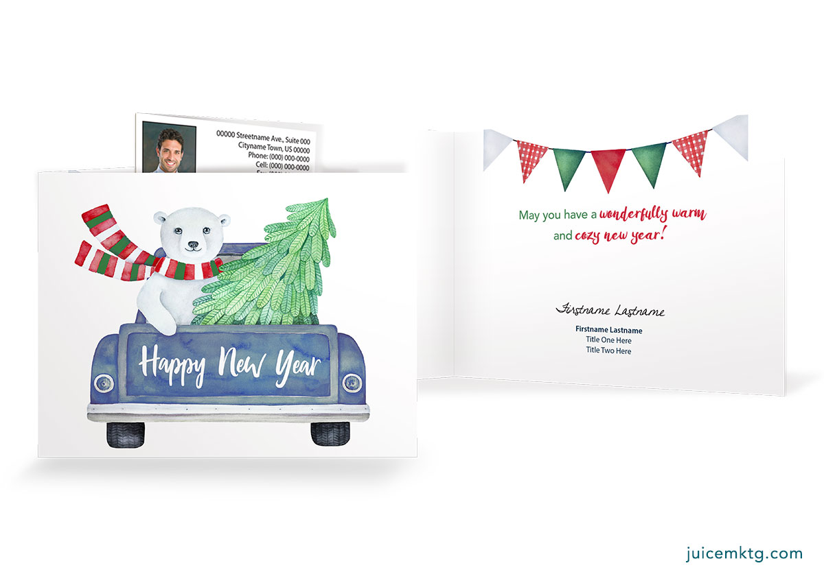 Happy New Year - Cozy Bear - Postcard