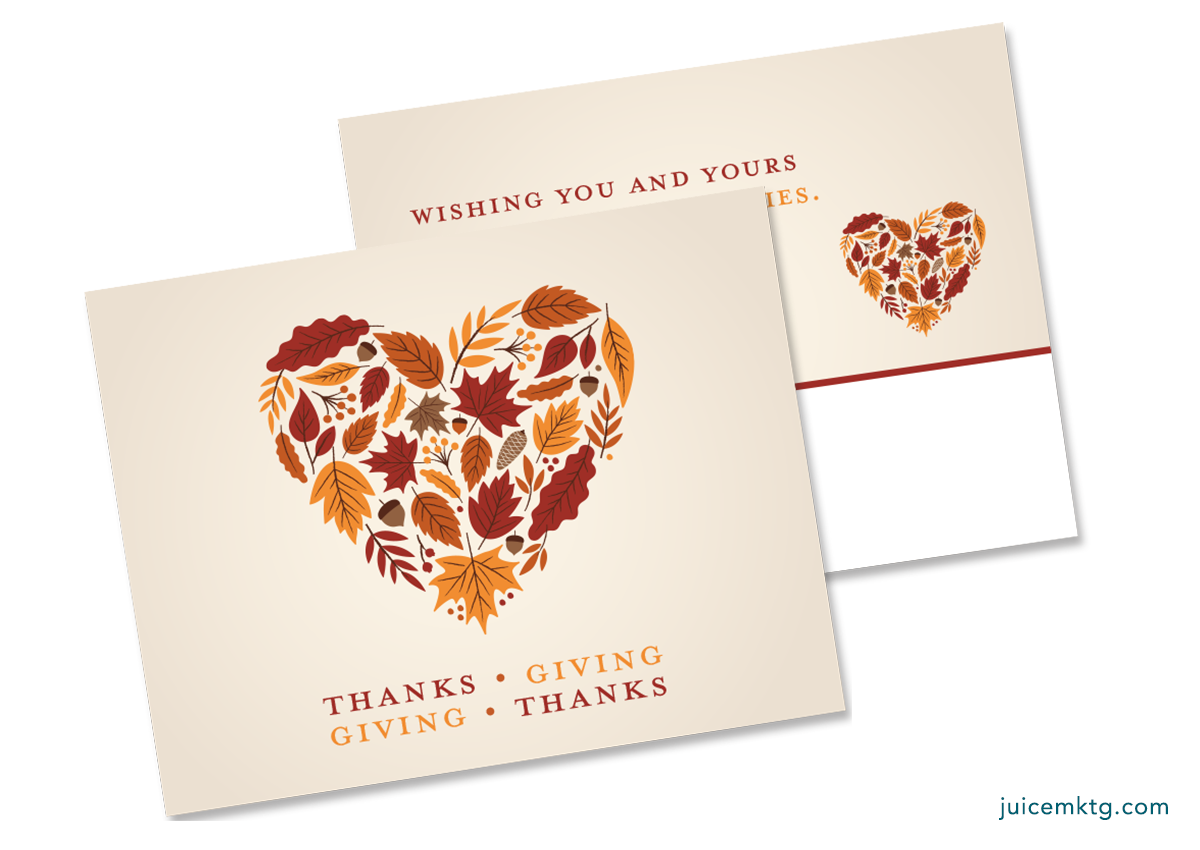 Thanksgiving - Hearts - Postcard