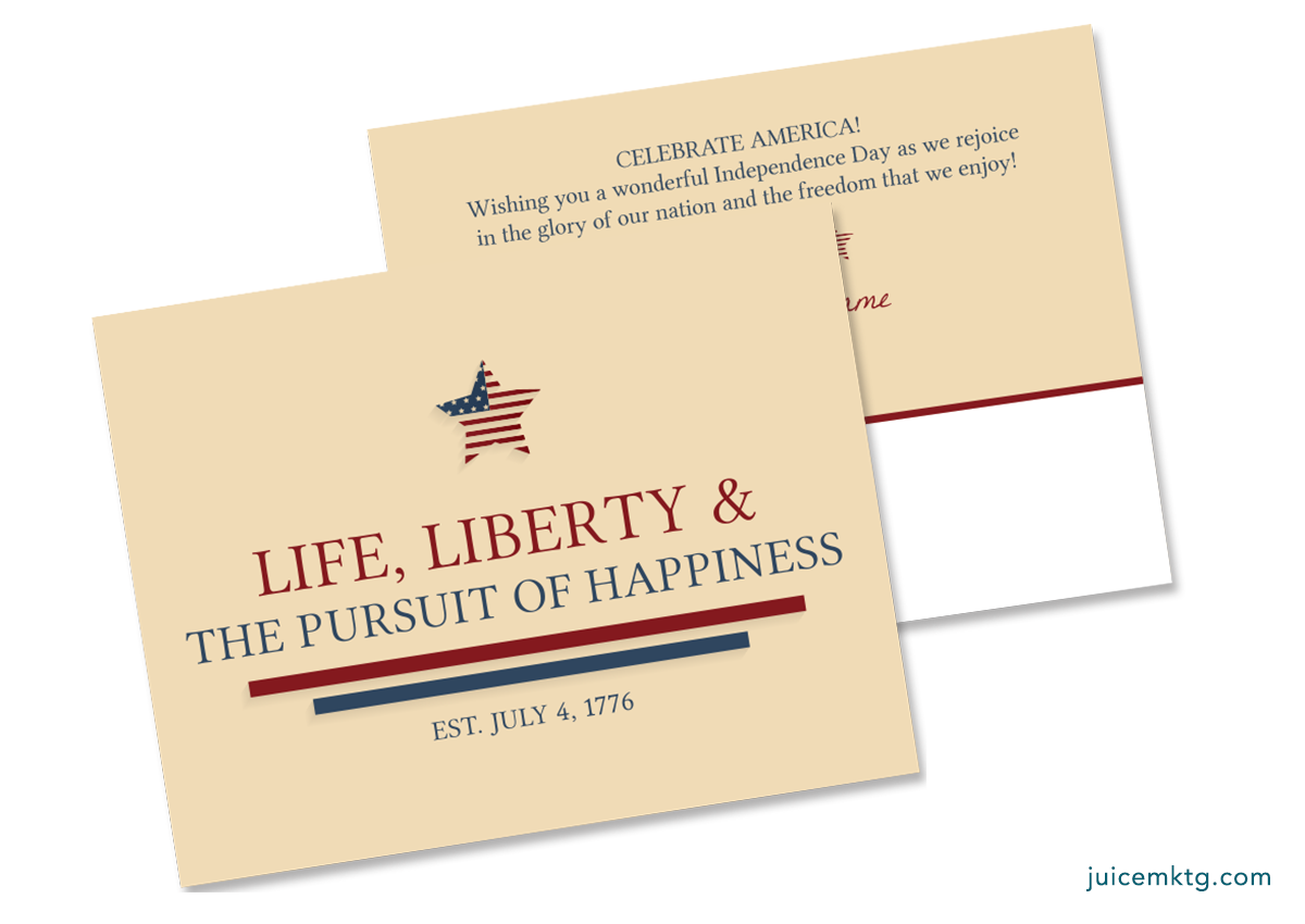 Fourth of July - Pursuit of Happiness - Postcard