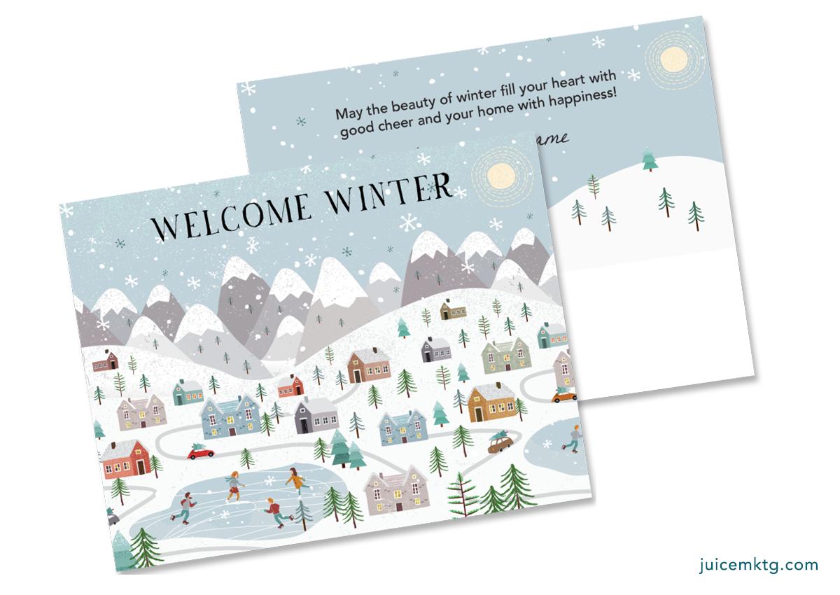 Winter - Village - Postcard