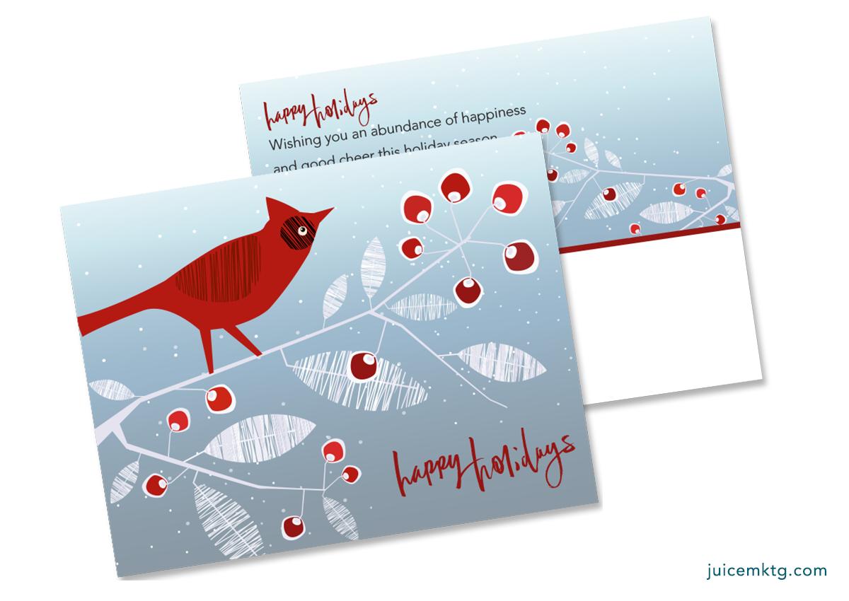 Happy Holidays - Cardinal - Postcard