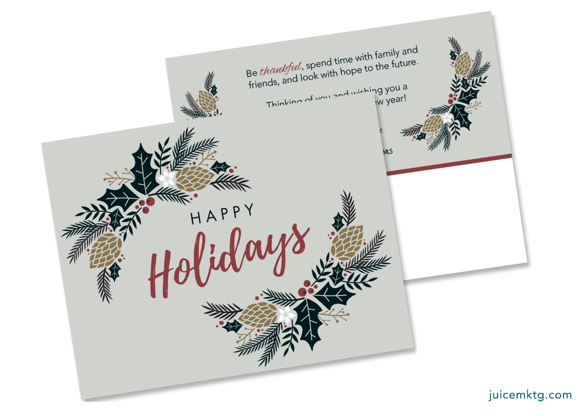 Happy Holidays - Greenery - Postcard