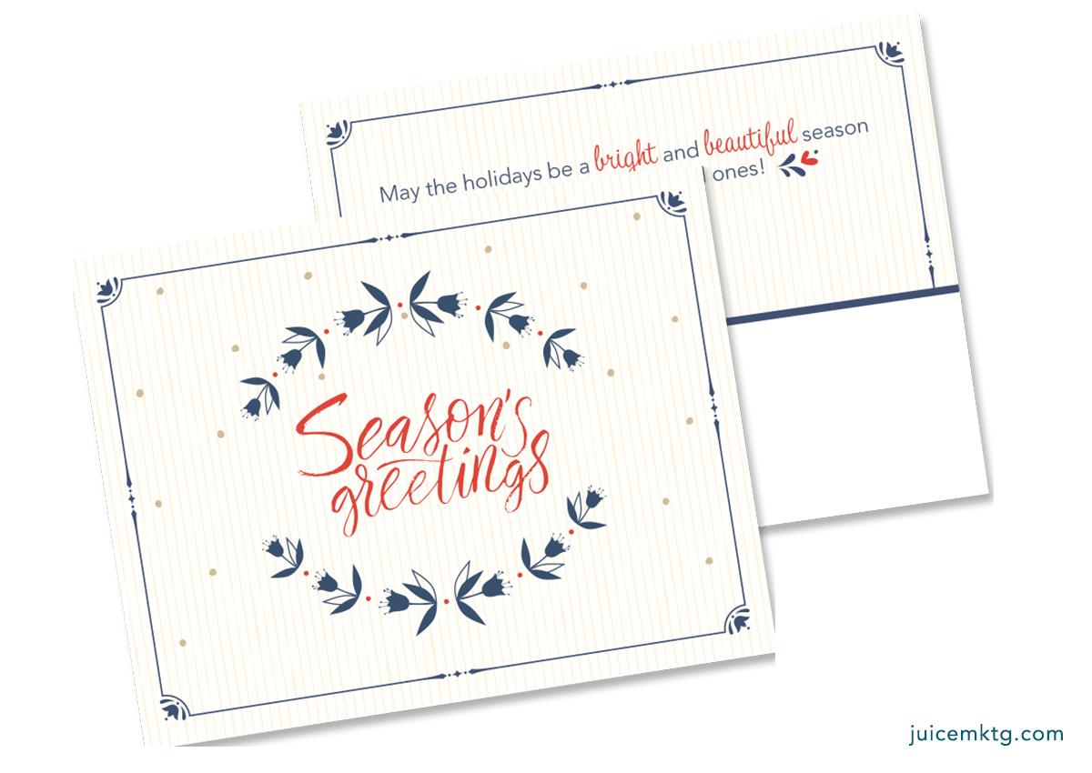 Seasons Greetings - Wreath - Postcard