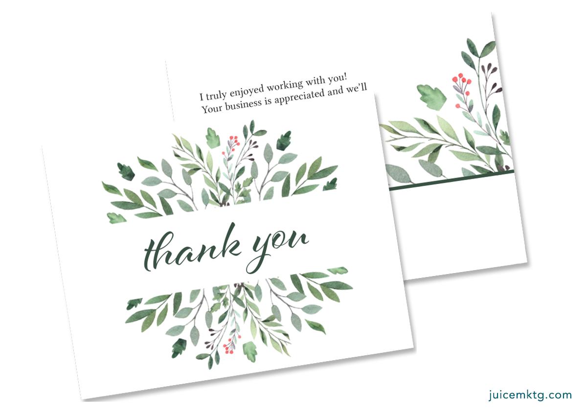 Thank You - Greenery - Postcard