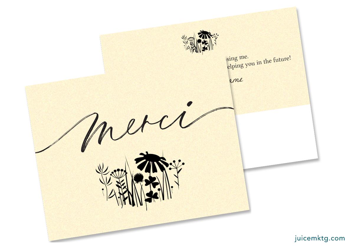 Thank You - Merci - Postcard