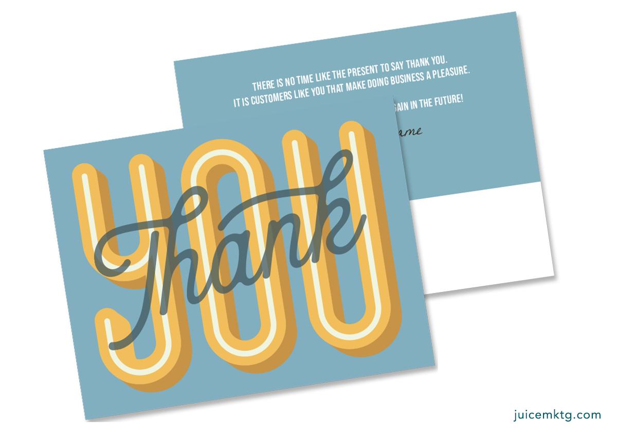 Thank You - Blue - Postcard