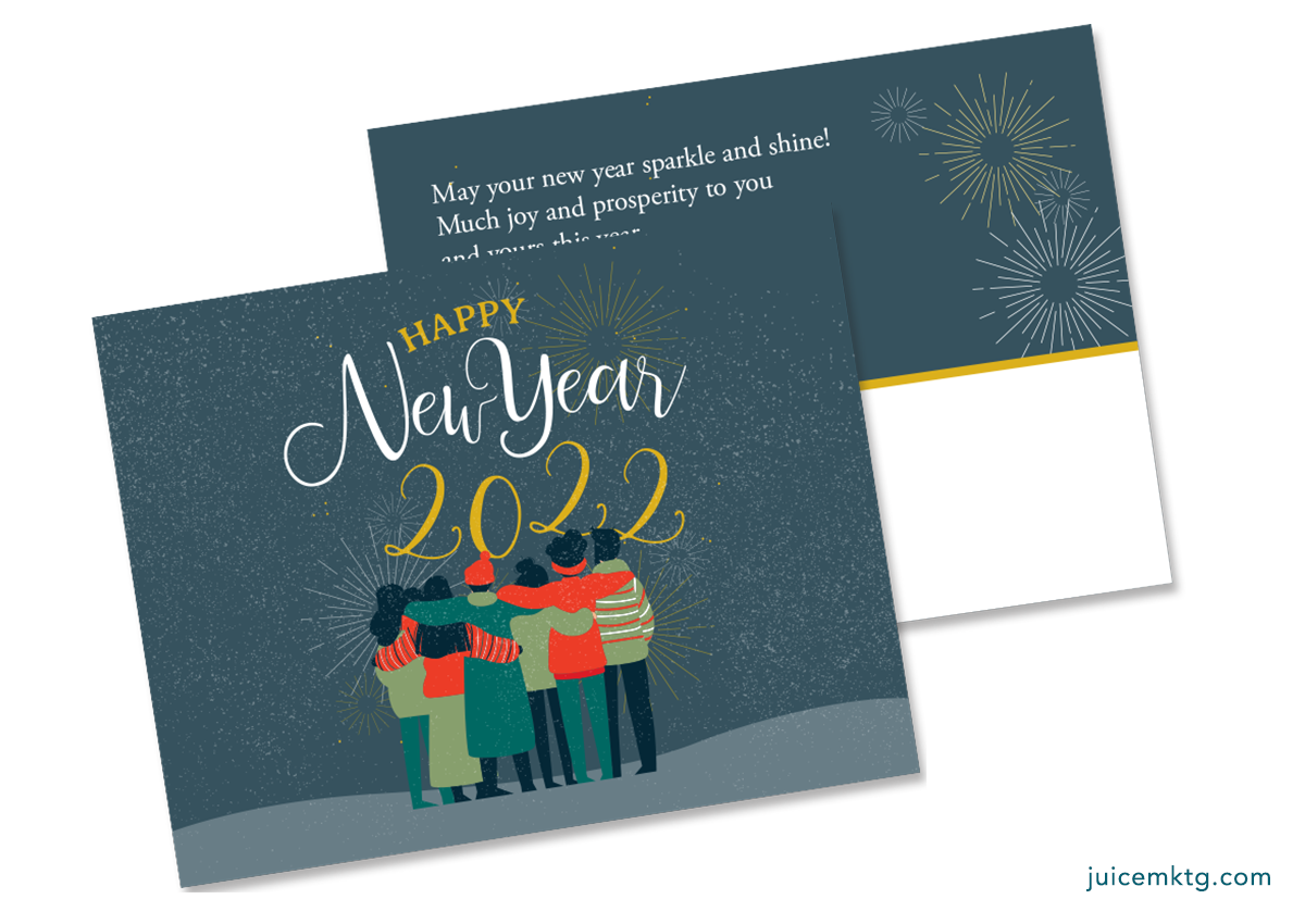 Happy New Year - Huddle - Postcard