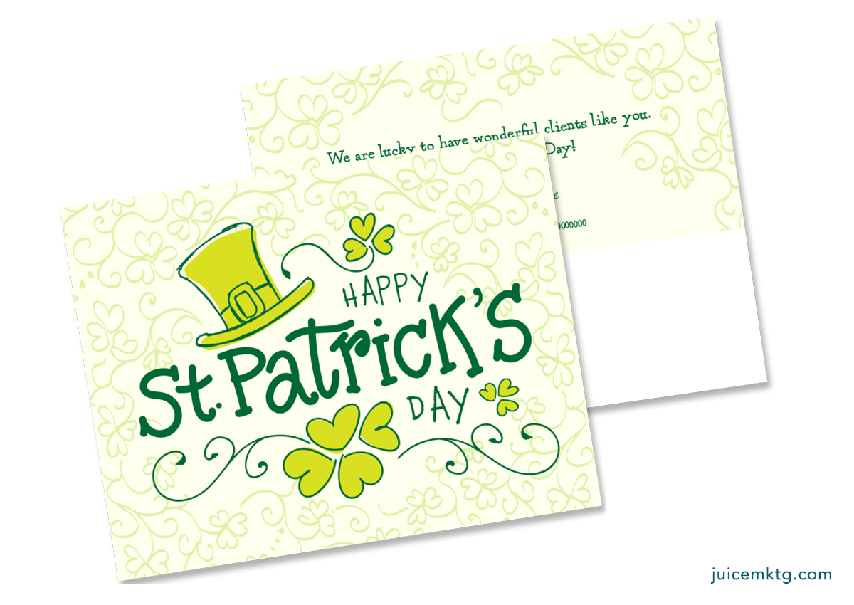 St. Patrick's Day - Winding Clovers - Postcard