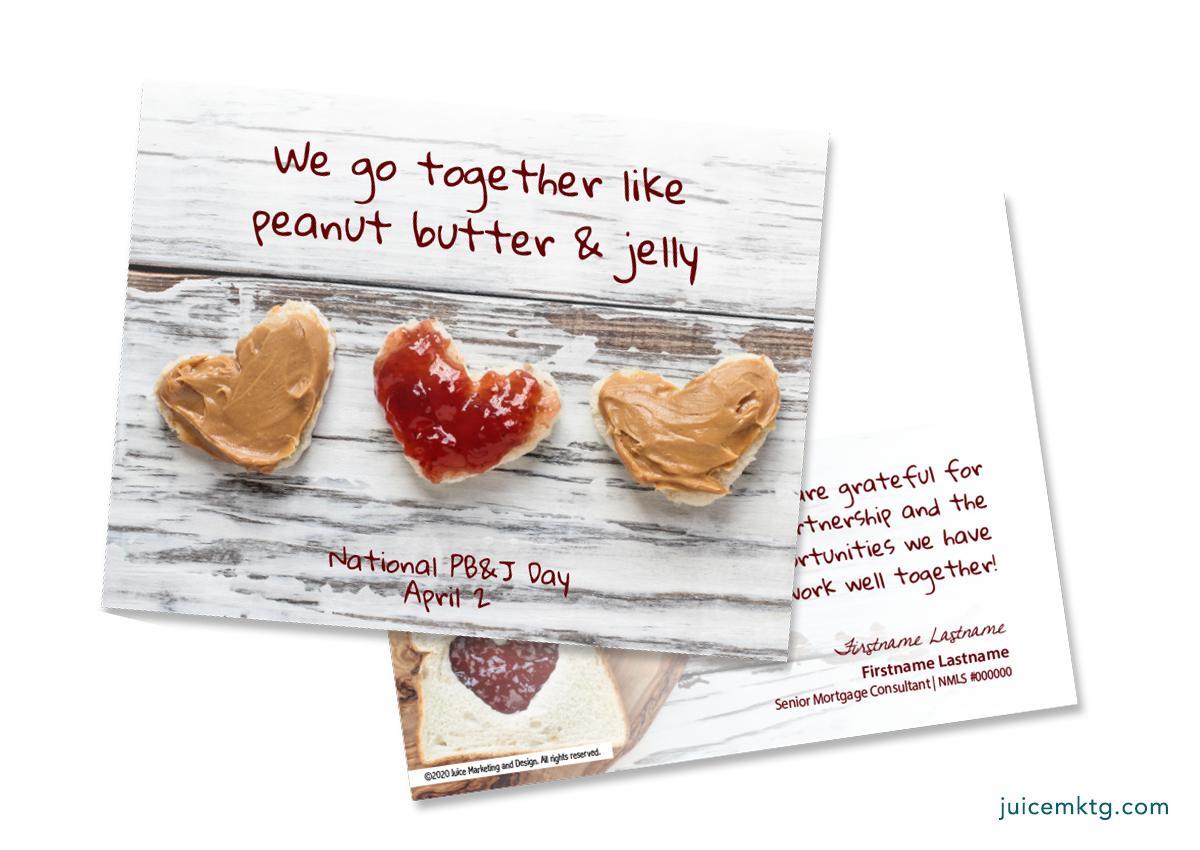 April 2, Peanut Butter & Jelly Day - Postcard