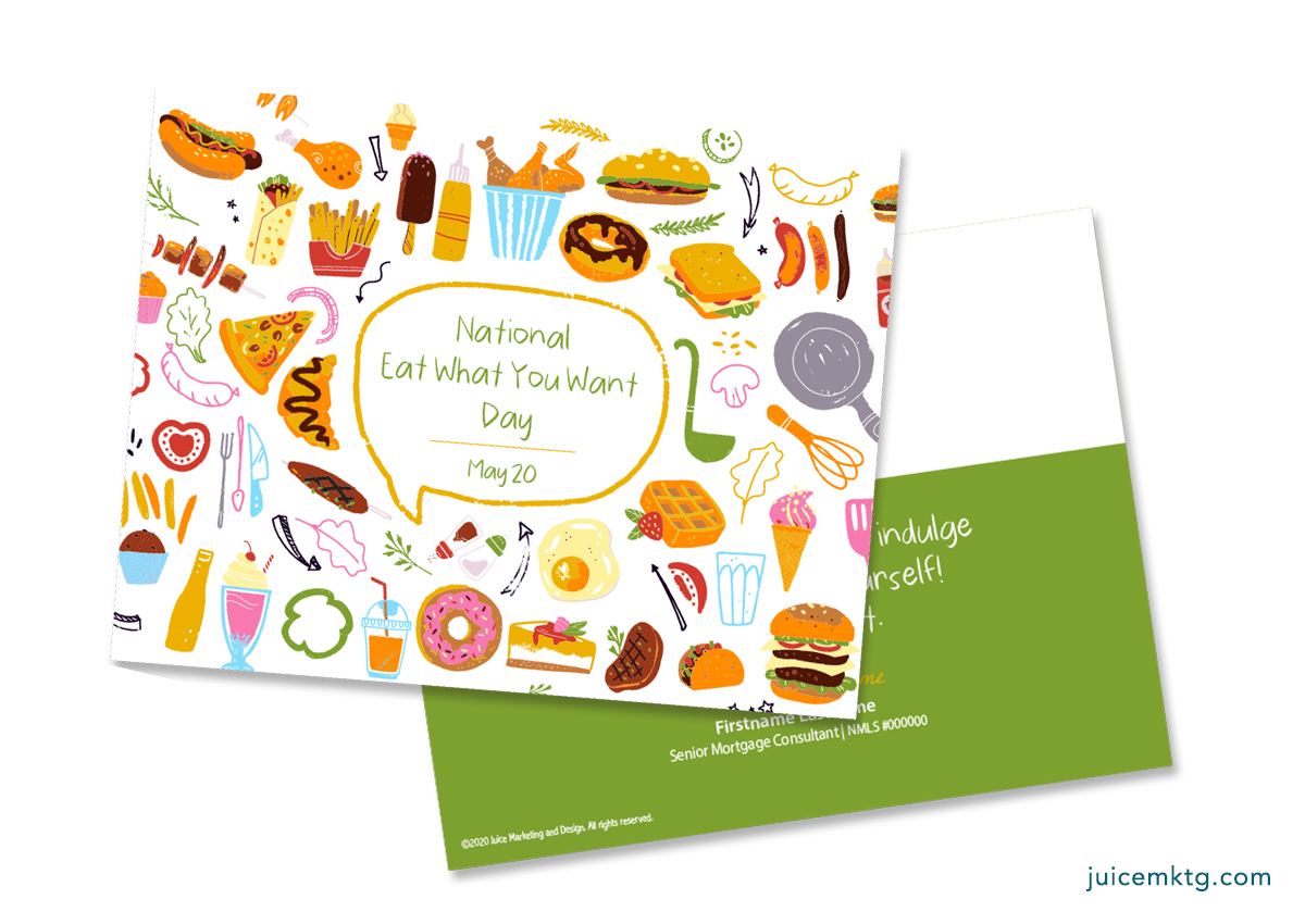 May 11, Eat What You Want Day - Postcard