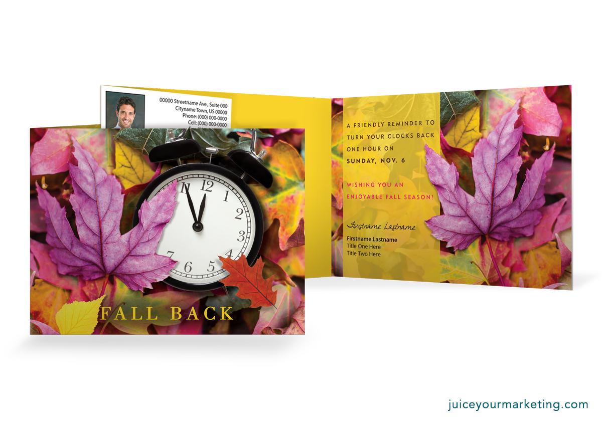 Daylight Saving - Fall Back - Leaves - Folded Card