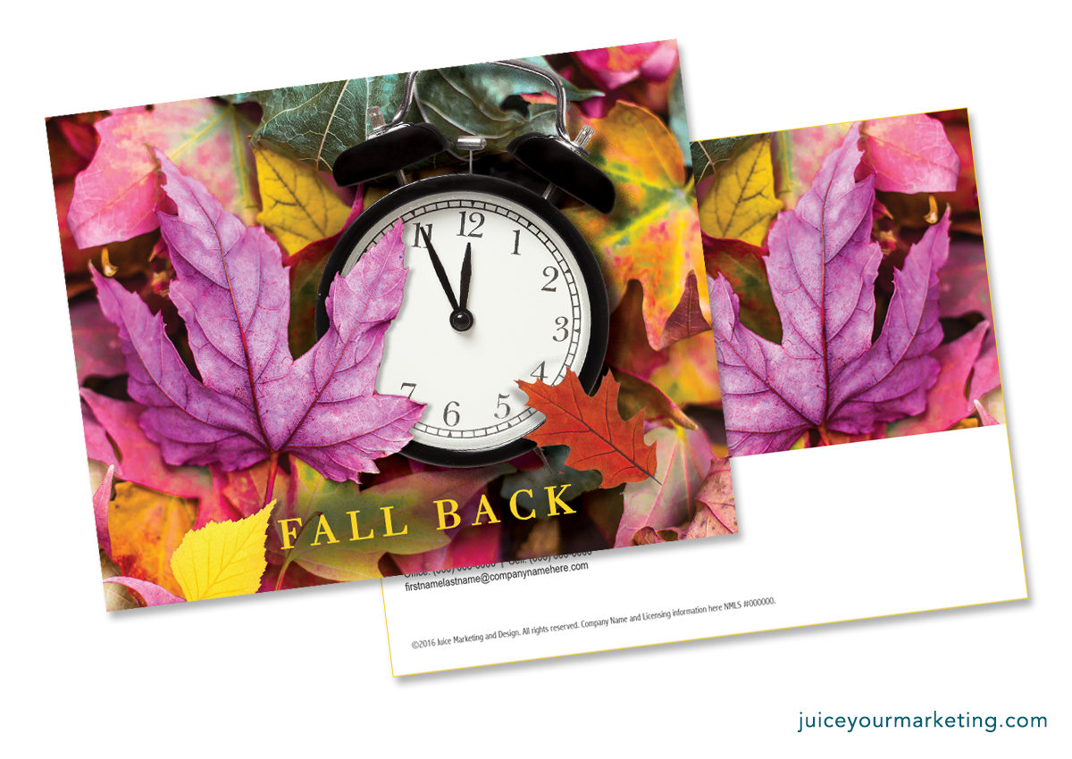 Daylight Saving - Fall Back - Leaves - Postcard