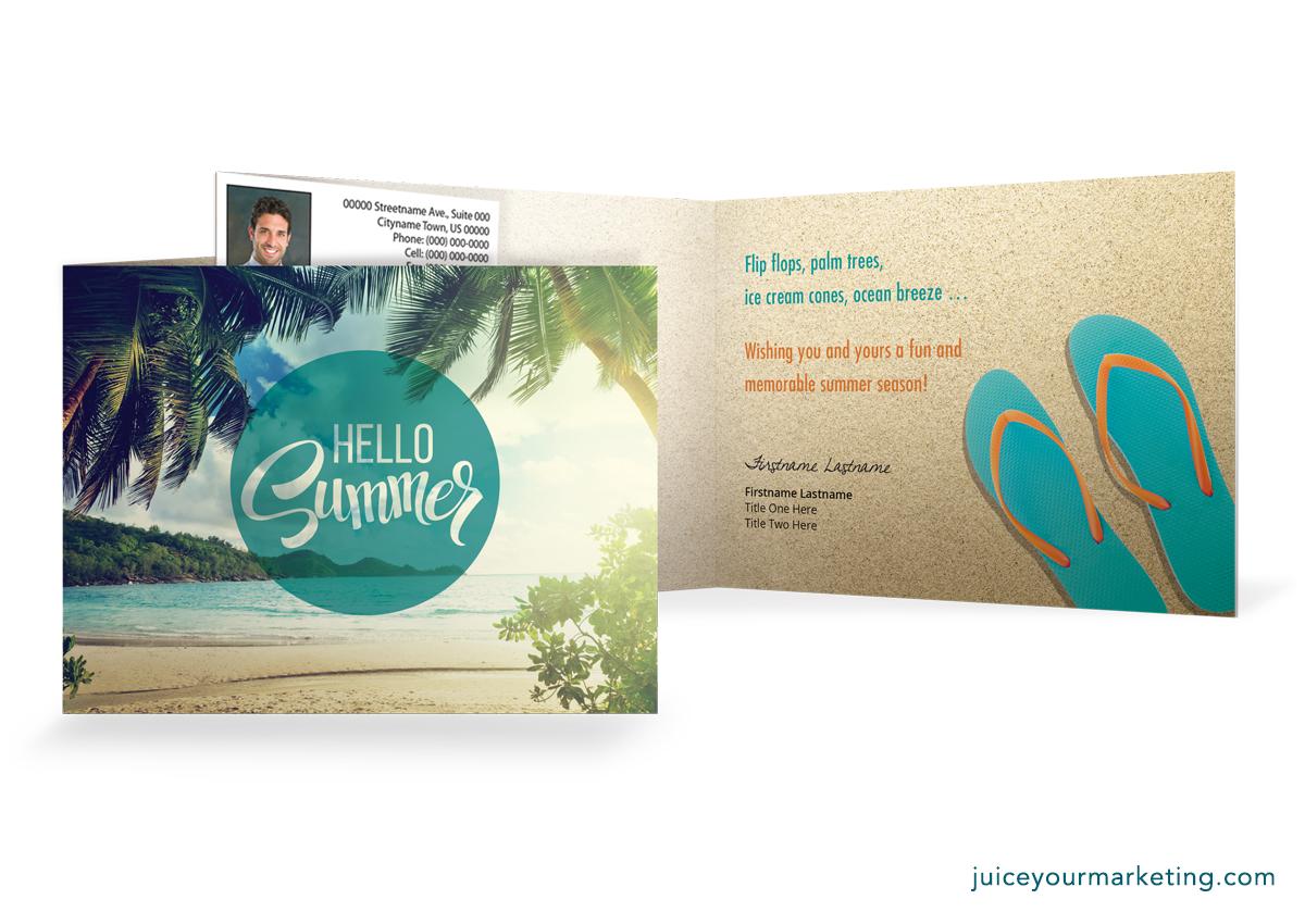 Hello Summer - Flip Flops - Folded Card