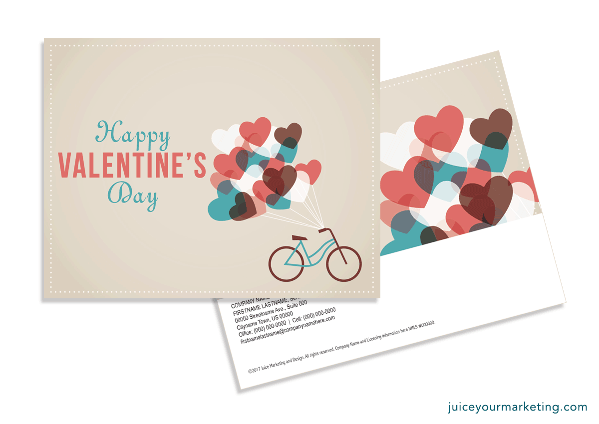 Valentine's Day - Bike and Balloons - Postcard