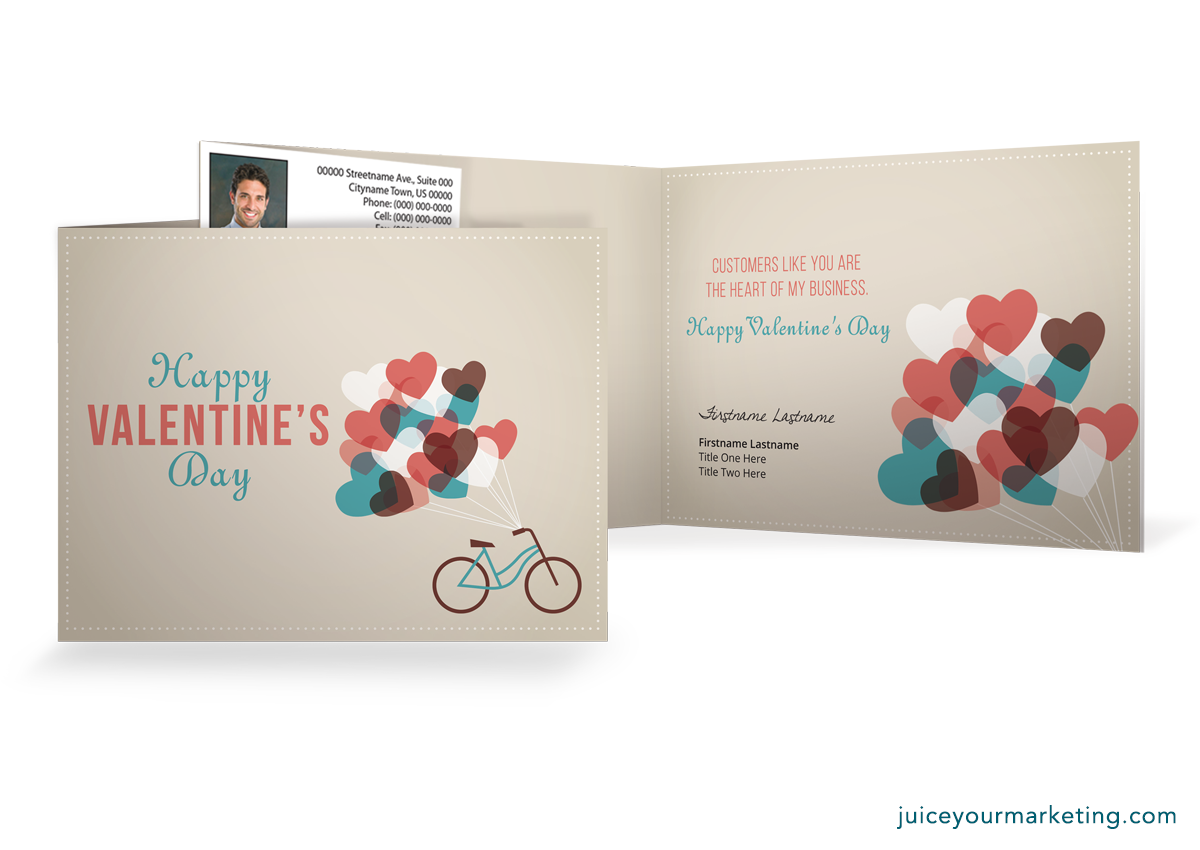 Valentine's Day - Bike and Balloons - Folded Card